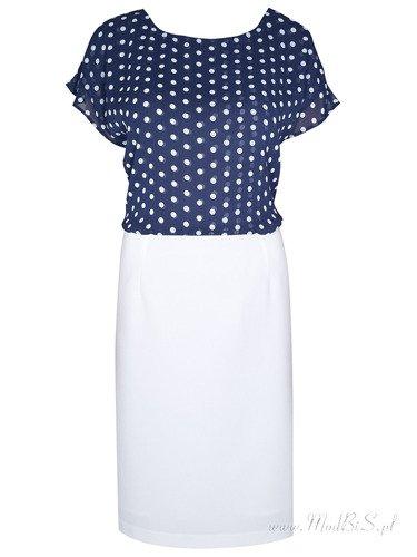 Sukienka damska Afrodyta II, letnia kreacja z szyfonową górą kreacji. Modny wzór.
