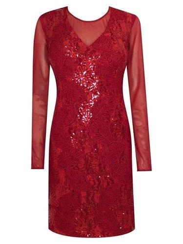 Sukienka wieczorowa Martyna II, bordowa kreacja z cekinami.