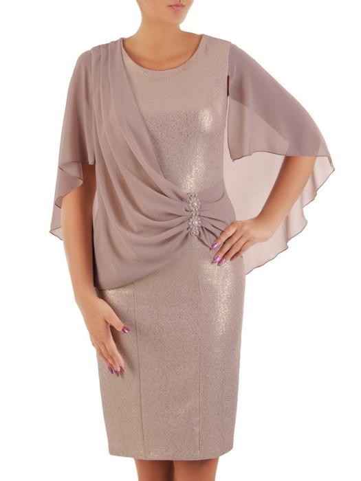 4c449773487b70 Elegancka sukienka z szyfonową narzutką, kreacja maskująca brzuch 21710