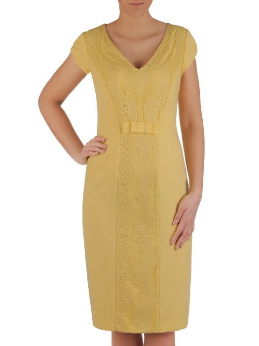 0781adb38a Żółta sukienka z koronkową wstawką Dana