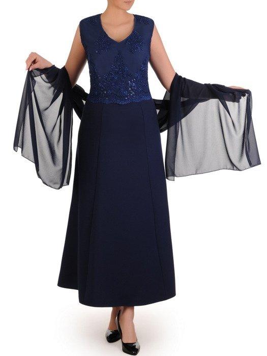 3d42988e3f40c8 Wieczorowa sukienka z szyfonowym szalem, granatowa kreacja wykończona  cekinami 19943