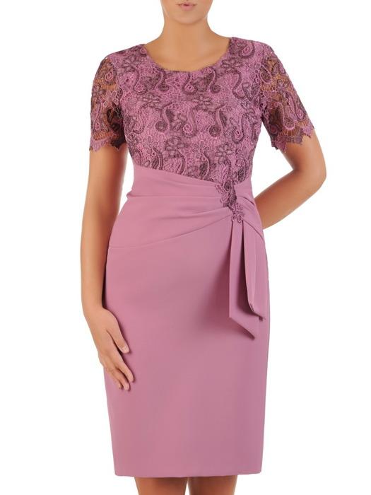 7059cfaa480d90 Elegancka sukienka na wesele, atrakcyjna kreacja wykończona gipiurą 21766