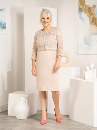 b5ef5b1ec71a Beżowa sukienka z krótkim