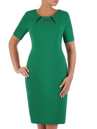 815249a087 Dzianinowa sukienka z oryginalnie wykończonym dekoltem 21047