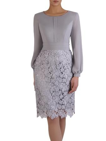 cf024b6d8699a3 Elegancka sukienka z koronki i szyfonu 15169, kreacja z bufiastymi rękawami.