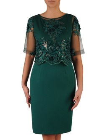 cbdb59cccdb9f Elegancka sukienka z koronkowym bolerkiem 18382, zielona kreacja na wesele.