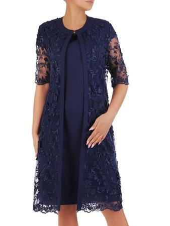 cc341189211c51 Kostium wizytowy, elegancka sukienka z koronkową narzutką 21077.