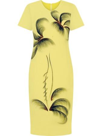 99b993b3d5519d Letnia sukienka lniana Martyna III, żółta kreacja z kontrastowym wzorem.
