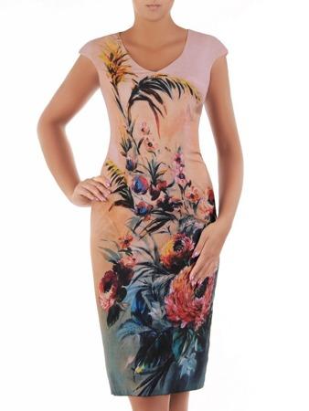 e87d0e1647e29e Sukienka wyszczuplająca, prosta kreacja z tkaniny 21620.