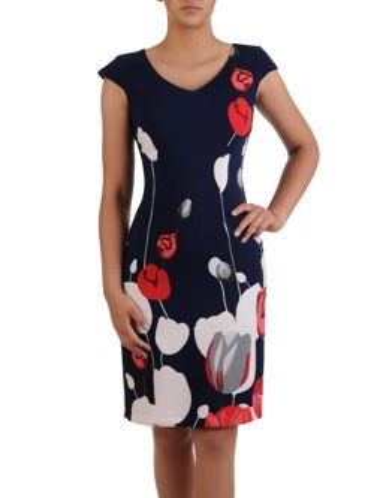 f12a3c84492d7d Sukienka z efektownym wzorem Krzysztofa I, kreacja wizytowa w kwiaty.