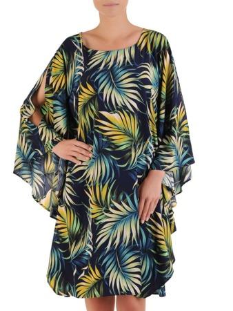 c200c89f788eb9 Sukienka z szyfonu, nowoczesna kreacja w fasonie maskującym brzuch 21585.