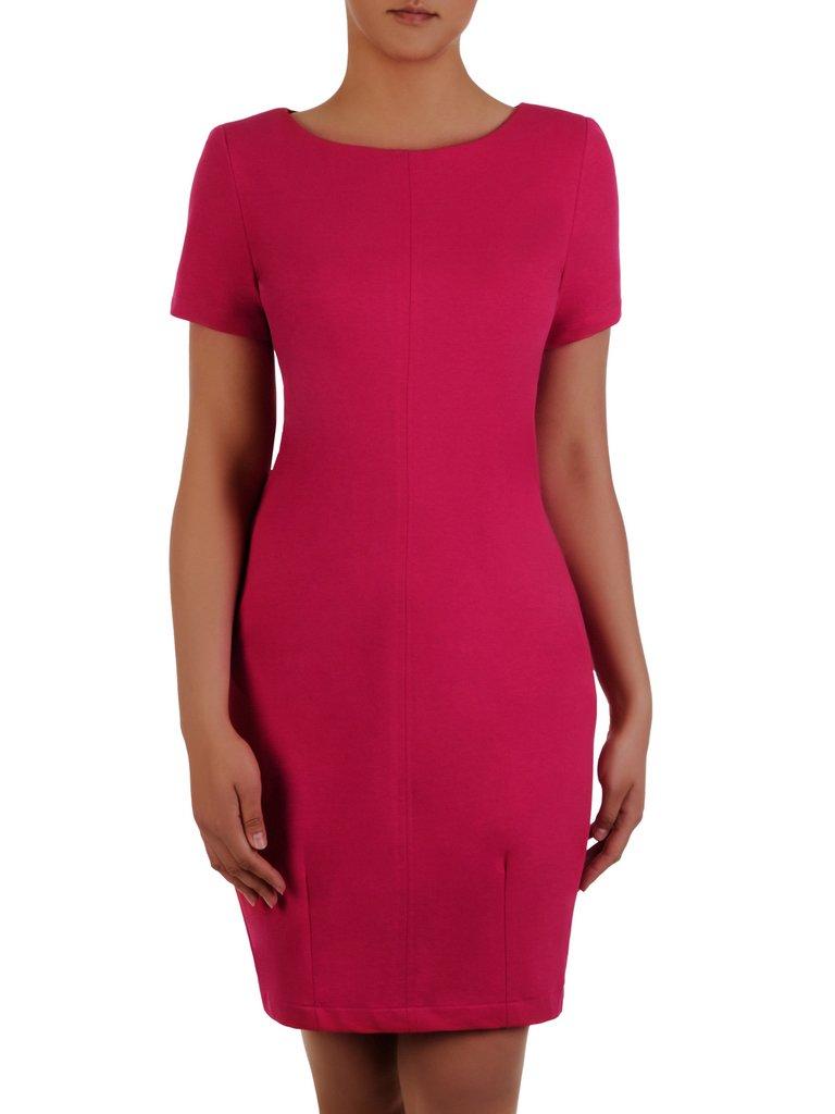 6ef8941a Amarantowa sukienka Nina IV, luźna kreacja wyszczuplająca brzuch.