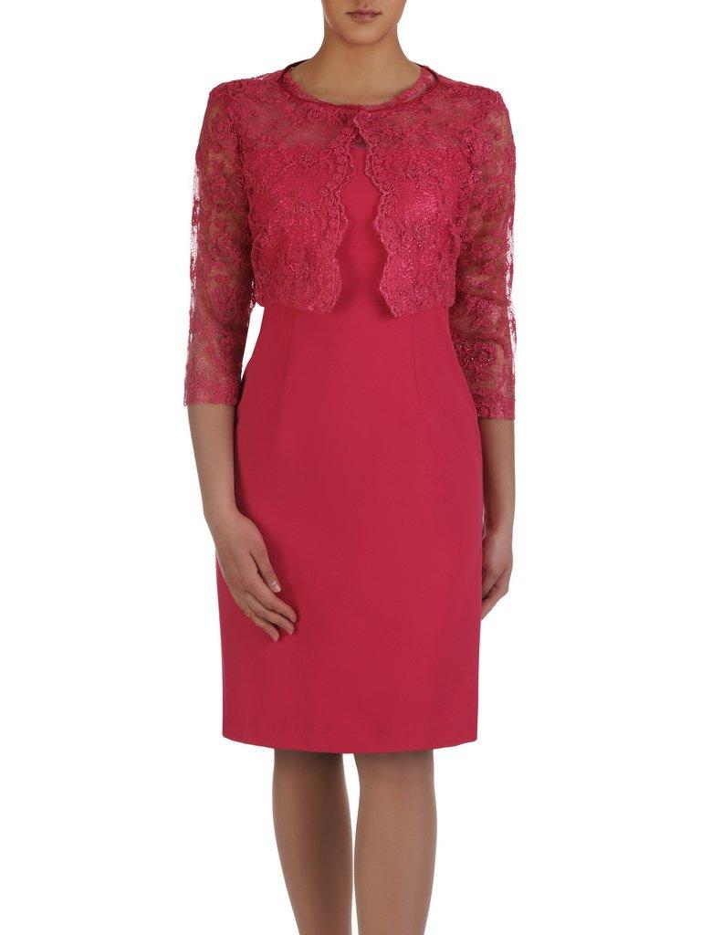 85a95793bd Amarantowa sukienka z krótkim