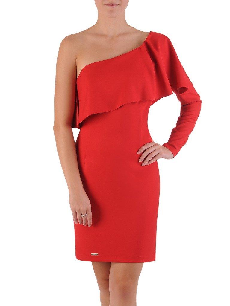 7717153c02 Asymetryczna sukienka z falbaną 17498