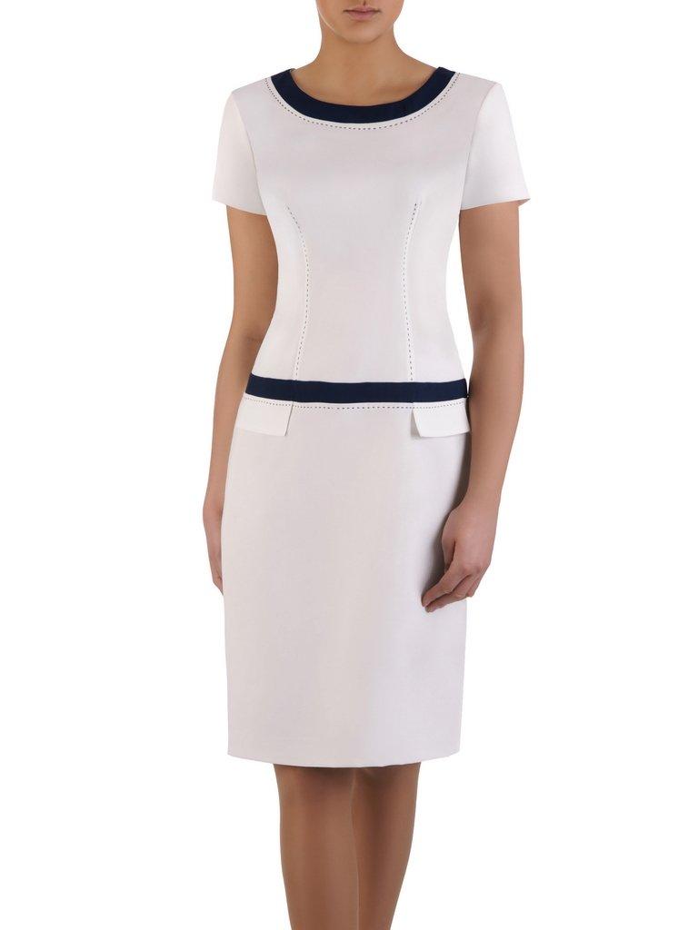 4892ca9f99ca82 Biała sukienka z lamówkami Ksawera VII, klasyczna kreacja na wiosnę ...