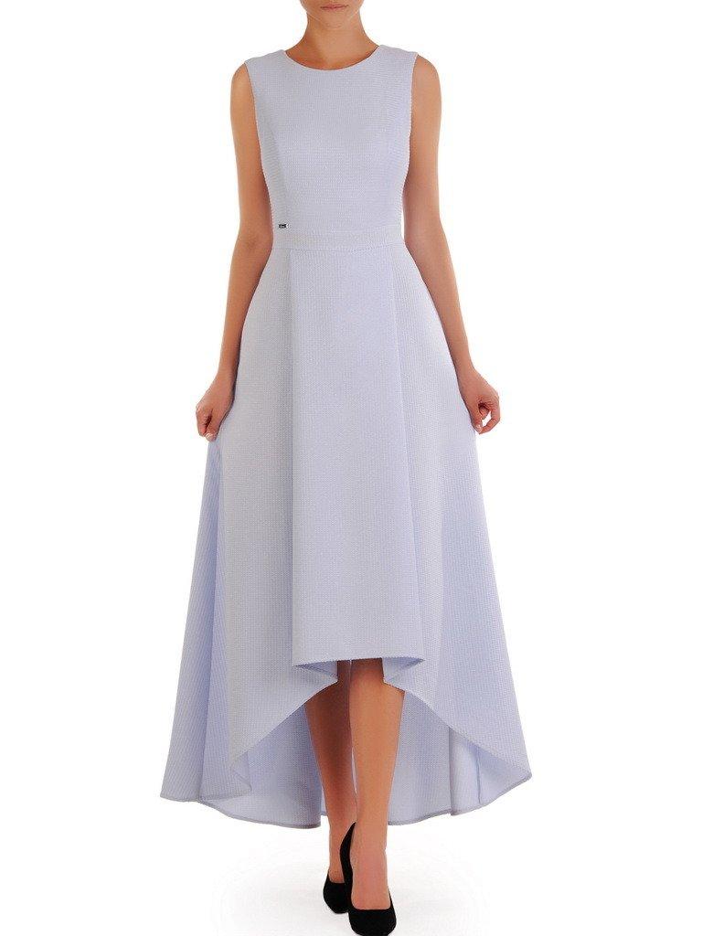 Błękitna suknia z modnym trenem, długa kreacja na wesele 21534