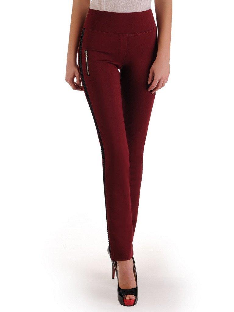 Bordowe spodnie z ozdobnymi lamówkami Ariadna.