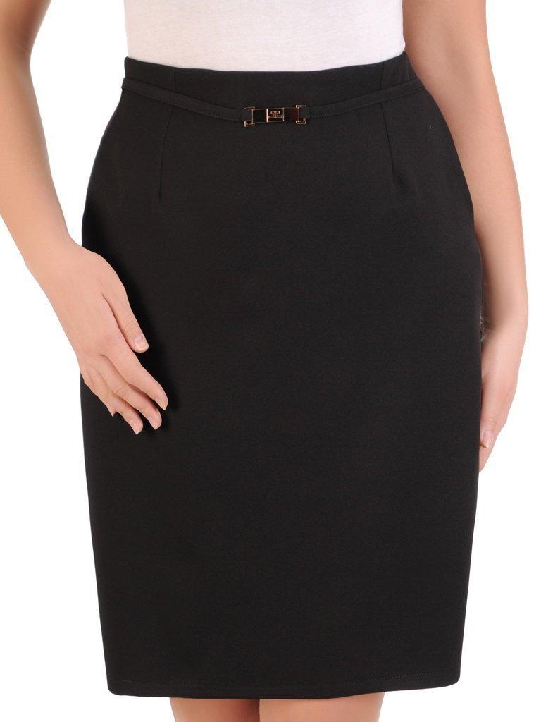 Czarna spódnica damska z ozdobnym paseczkiem i kieszeniami 24708
