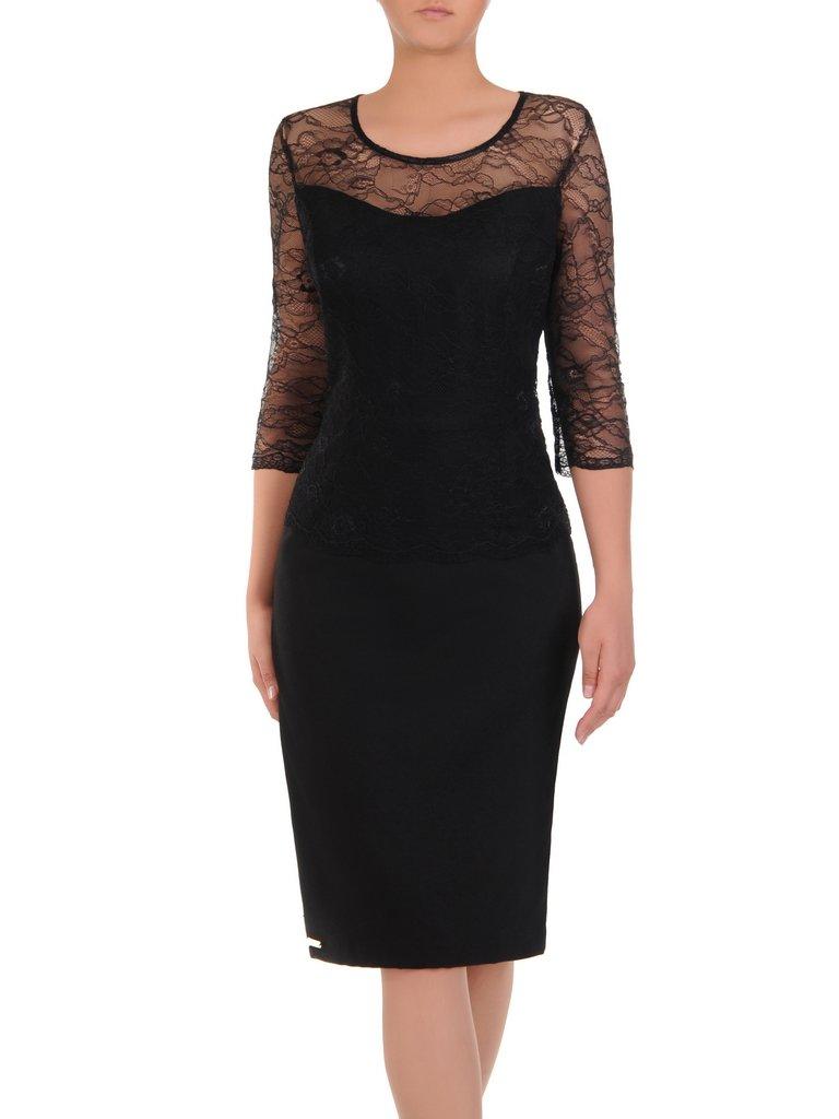 469cb452064ca7 Kliknij, aby powiększyć · Czarna sukienka z koronką Mirella I, elegancka  kreacja wykończona ...