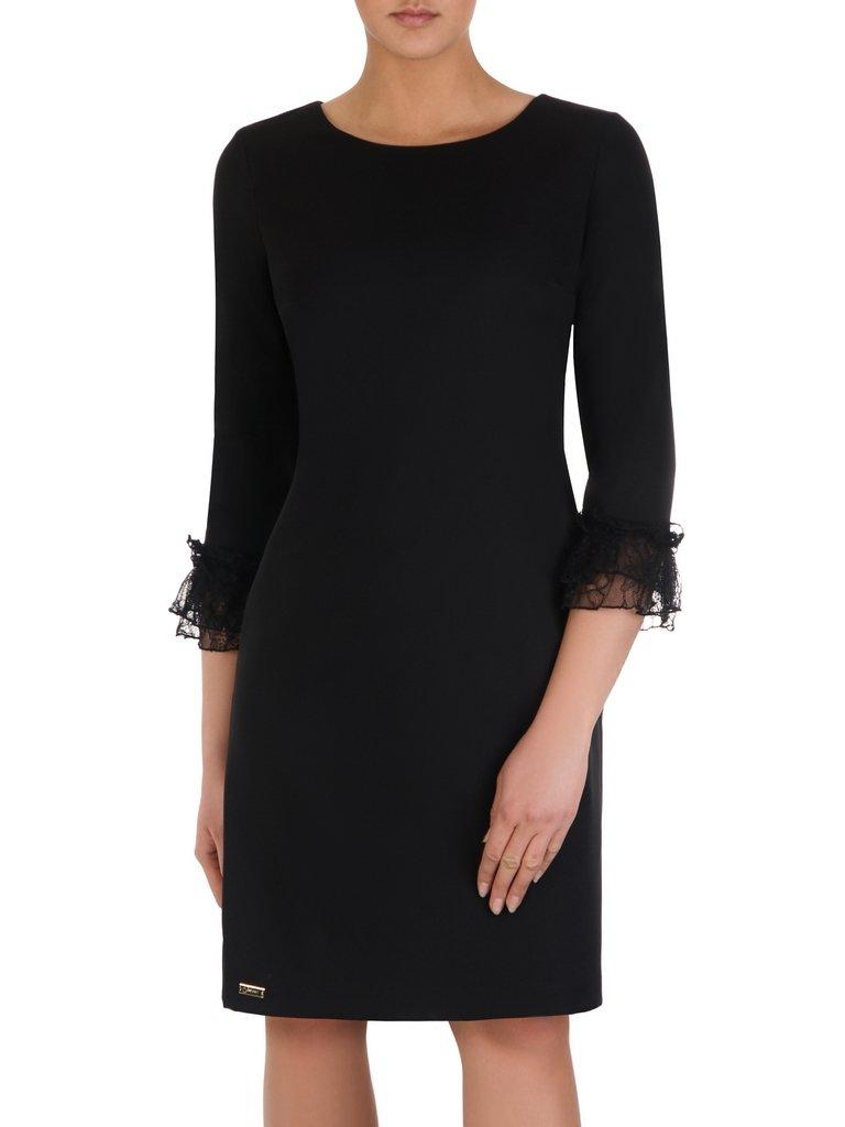 c6c126ee2b Czarna sukienka z koronkowymi mankietami 14161