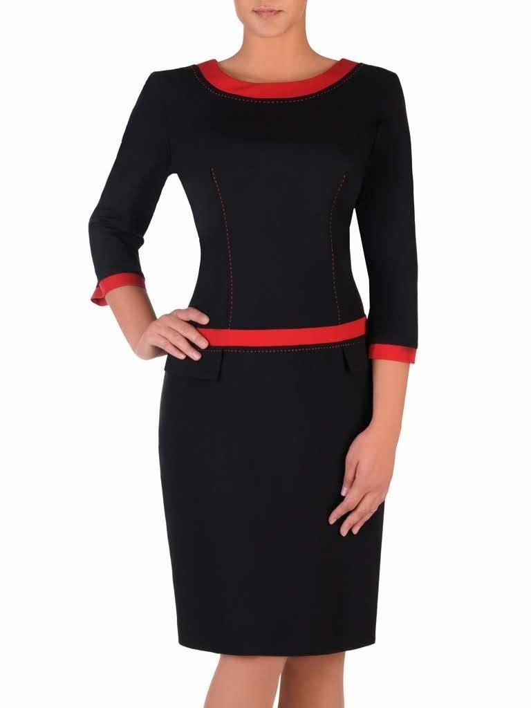 38256e08c65ded Czarna sukienka z lamówkami Ksawera IV, klasyczna kreacja na jesień ...