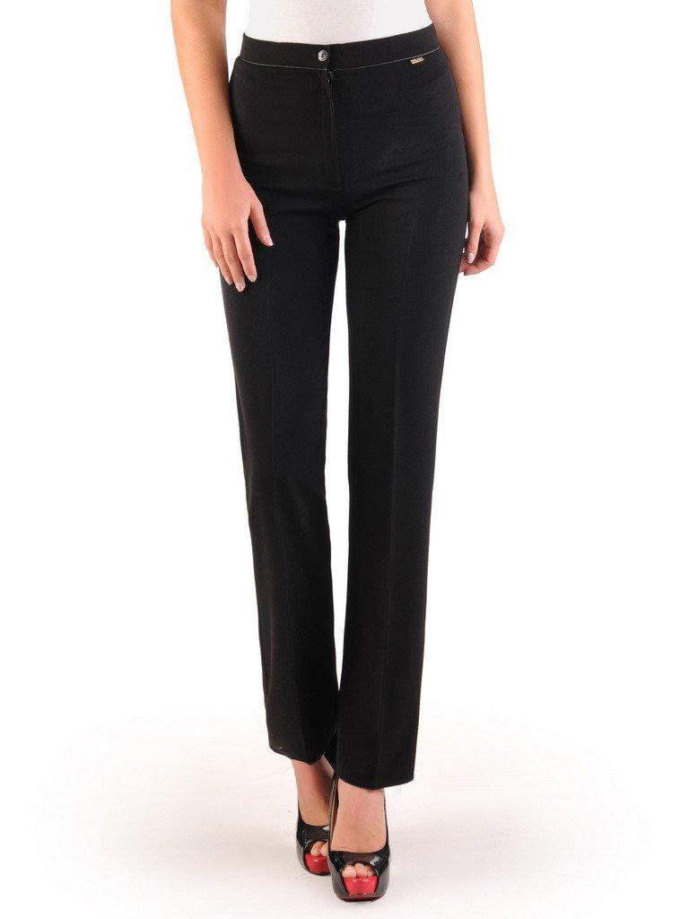 Czarne spodnie damskie w kant 22288