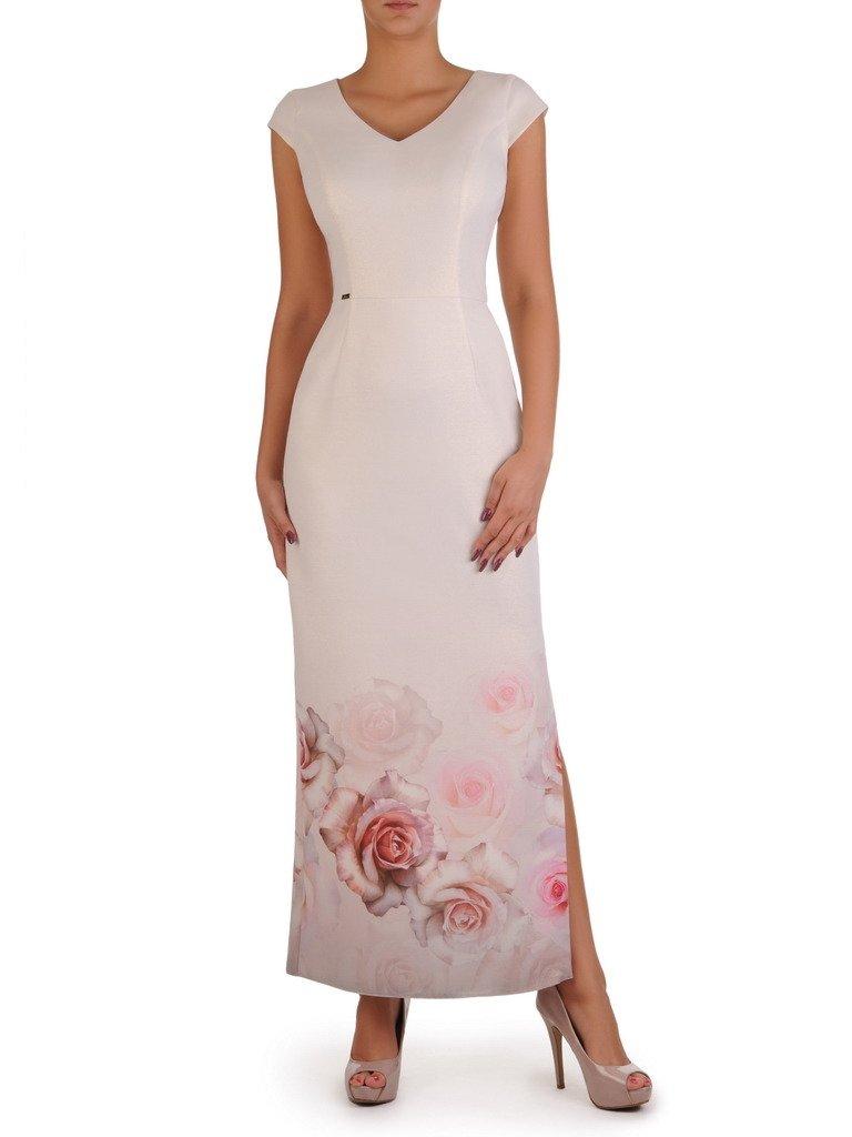 3dab00d3 Długa, prosta suknia z eleganckim wzorem 17802.