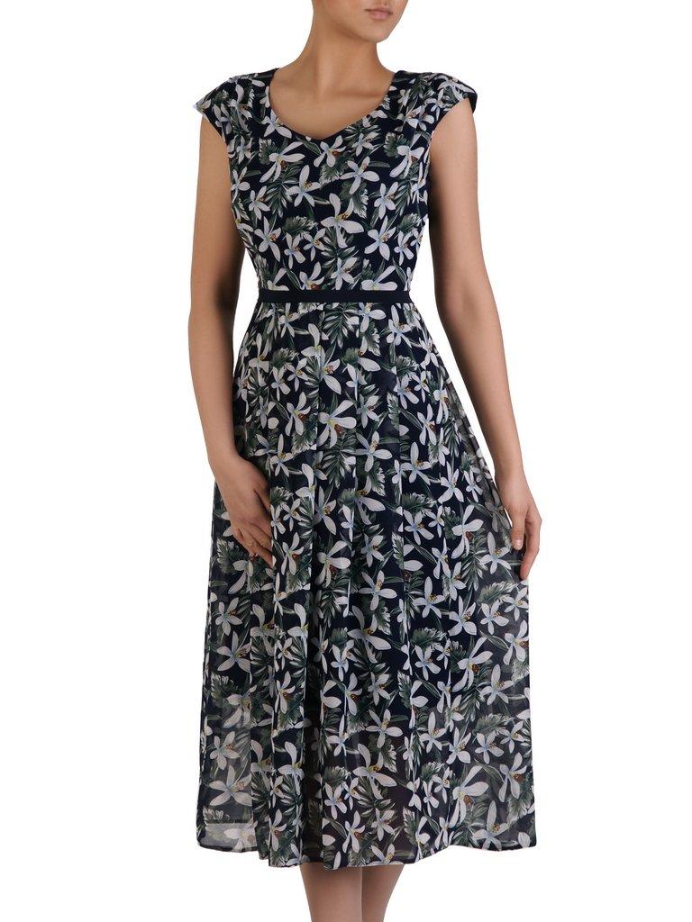 235e9ed9d8ce01 Długa sukienka w kwiaty 16192, modna kreacja z wzorzystego szyfonu ...