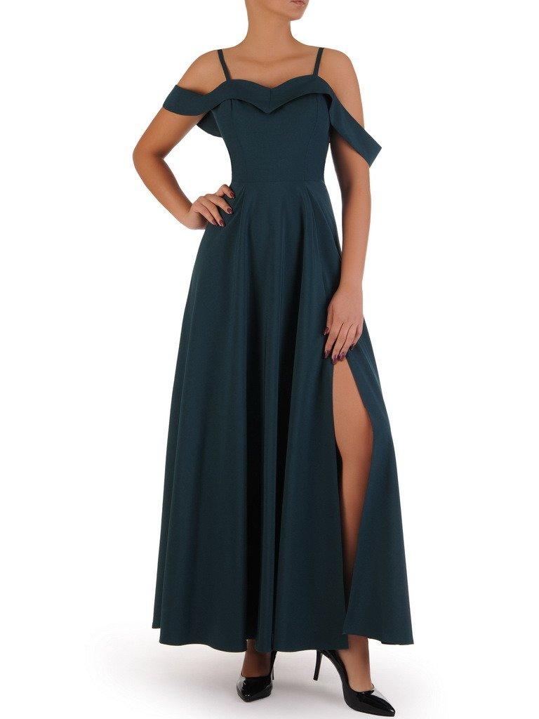 ccb79eef48ad95 Kliknij, aby powiększyć · Długa sukienka z modnym dekoltem 17934, zielona  kreacja wieczorowa.