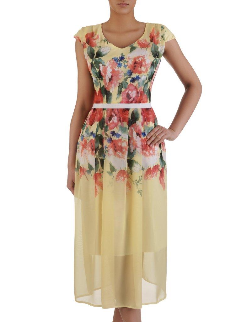 88e2c788 Długa sukienka z szyfonu 15871, elegancka kreacja w kwiaty. | Sklep ...