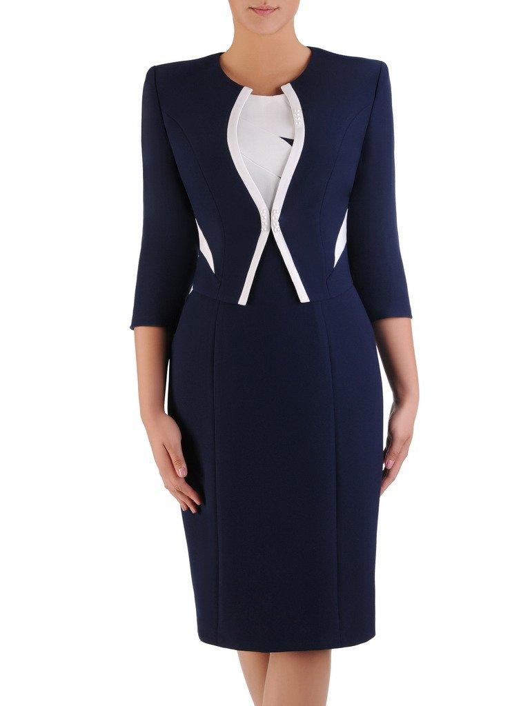 ab5133ee3a Dwukolorowa sukienka z nowoczesnym żakietem 17126