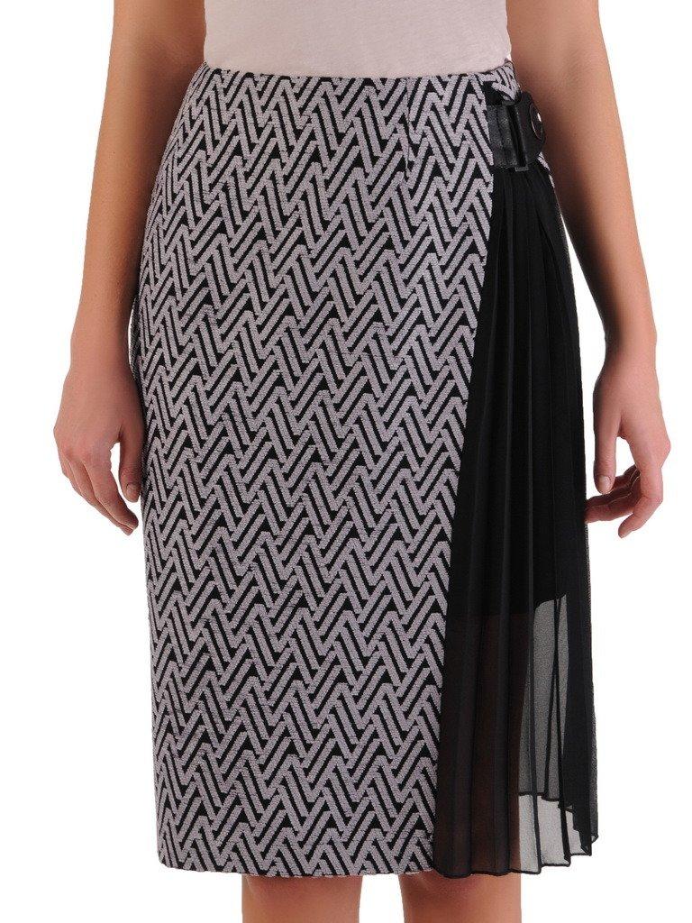 2670dd07c7bb53 Dzianinowa spódnica z szyfonową wstawką 14374. | Sklep online ModBiS.pl
