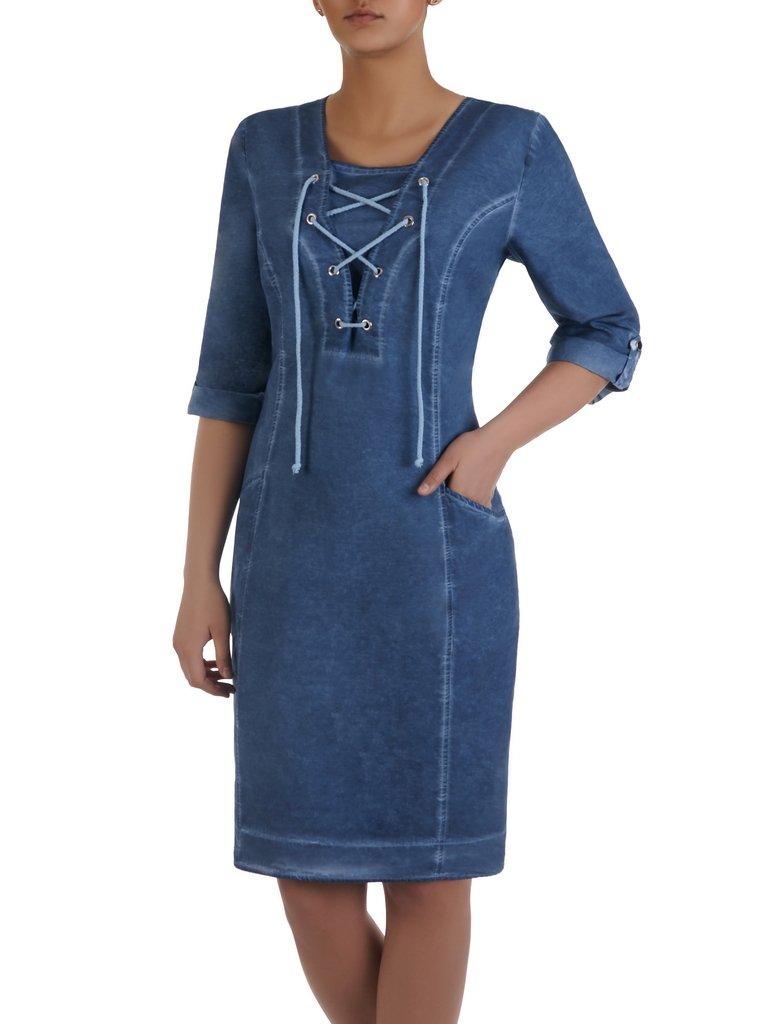 4f514665fd Dżinsowa Sukienka Z Modnym Sznurowaniem 16009 Sklep Online Modbispl
