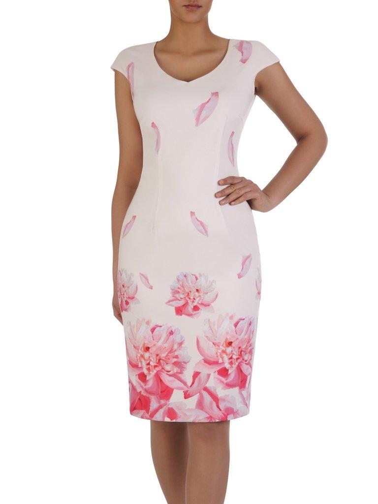 376bcdb775ff83 Kliknij, aby powiększyć; Elegancka sukienka bez rękawów 15559, kreacja z  nadrukiem ...