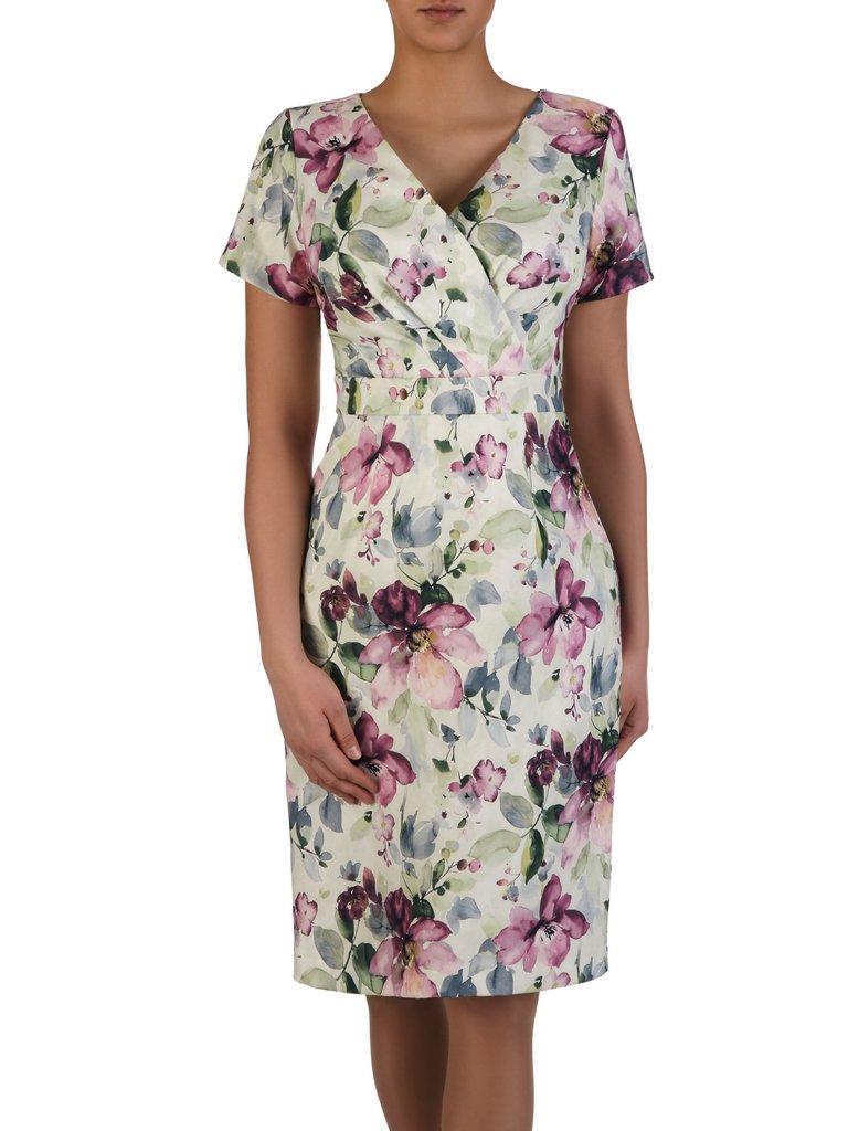 e60274c1aff483 Elegancka sukienka wyszczuplająca 15260, kopertowa kreacja w kwiaty ...