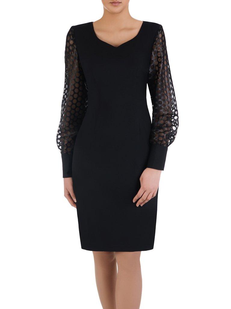 5c80e0ccda5d Elegancka sukienka z ażurowymi rękawami 14951