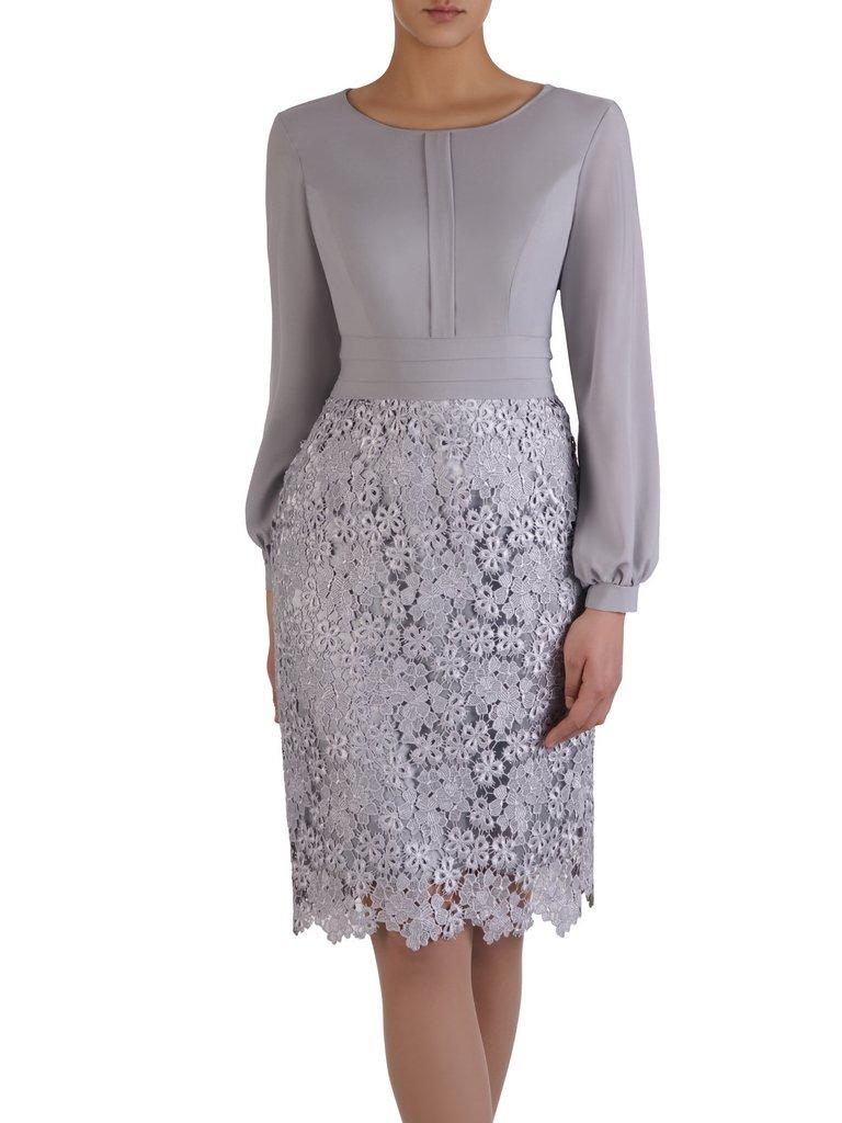 017a11b66c Elegancka sukienka z koronki i szyfonu 15169