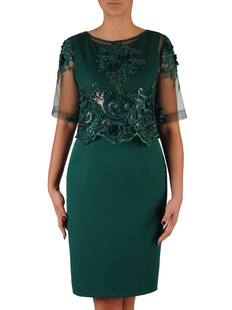 5f7b9efcae8a78 Elegancka sukienka z koronkowym bolerkiem 18382, zielona kreacja na ...