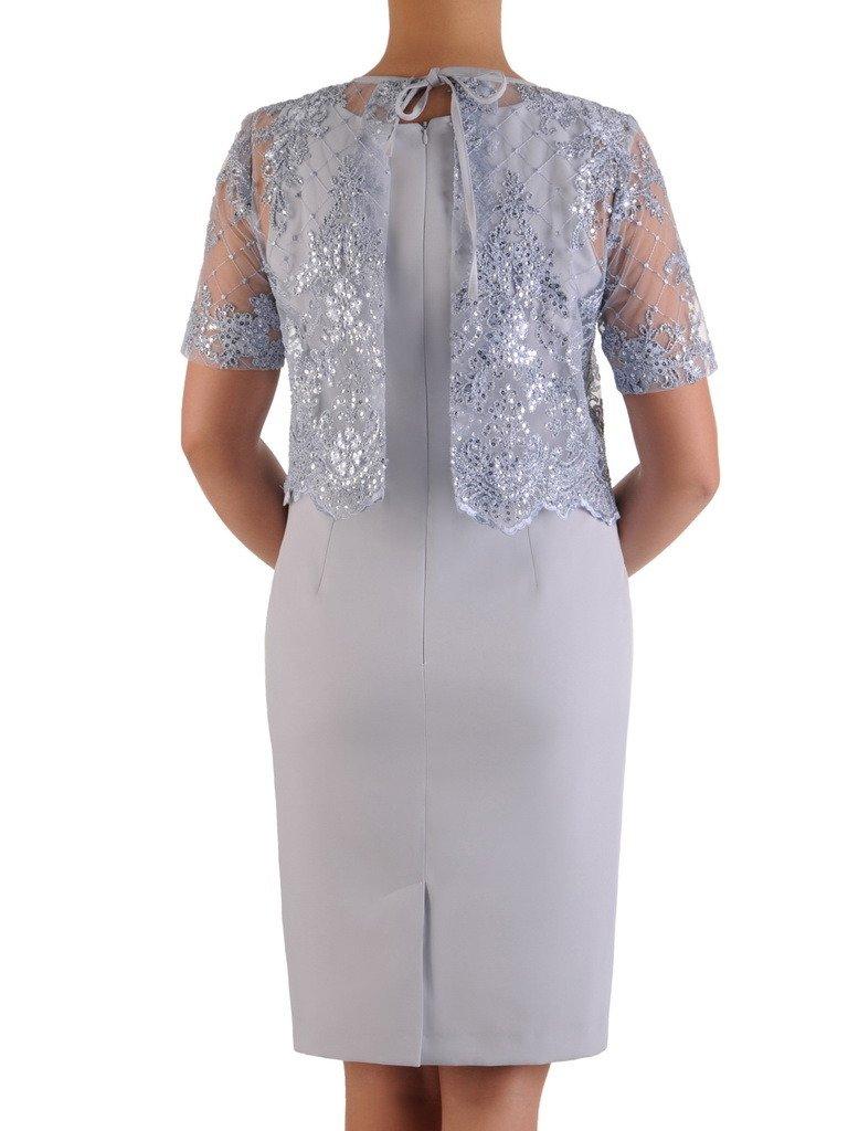 20e119ffe003b7 Elegancka sukienka z koronkowym bolerkiem 19362, popielata kreacja ...