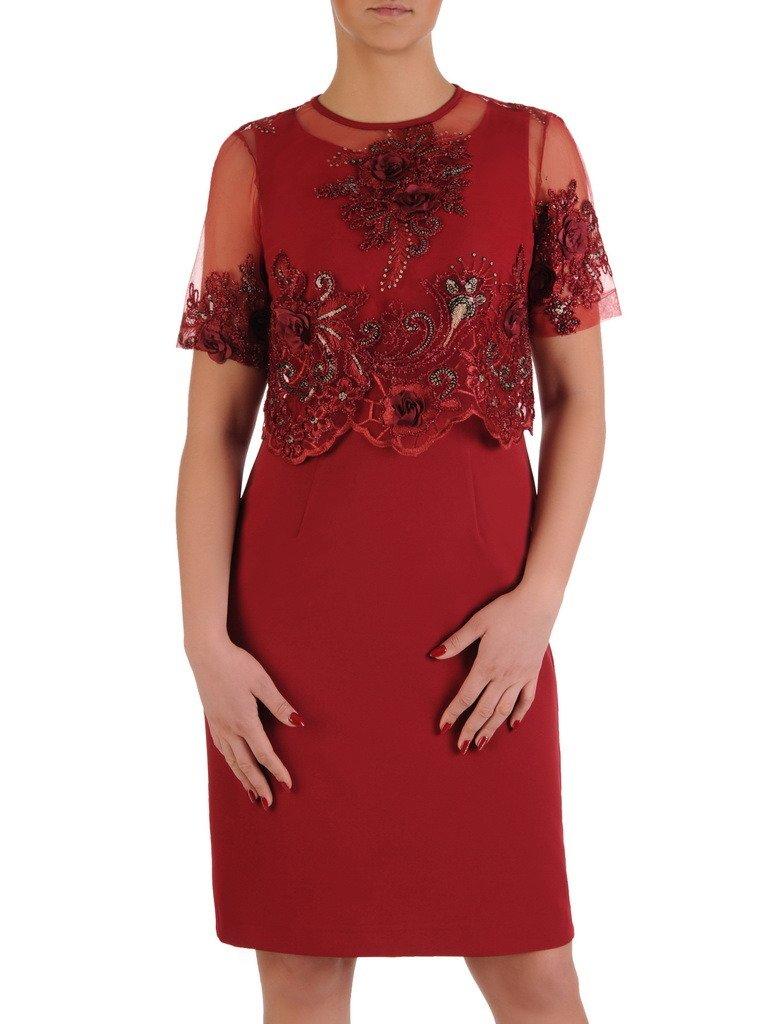 387e676856 Elegancka sukienka z koronkowym bolerkiem 19365