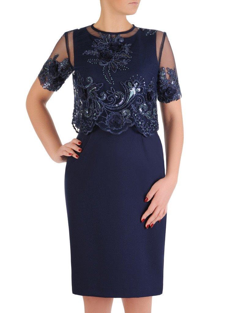 6e50b1a386 Elegancka sukienka z koronkowym bolerkiem 19366