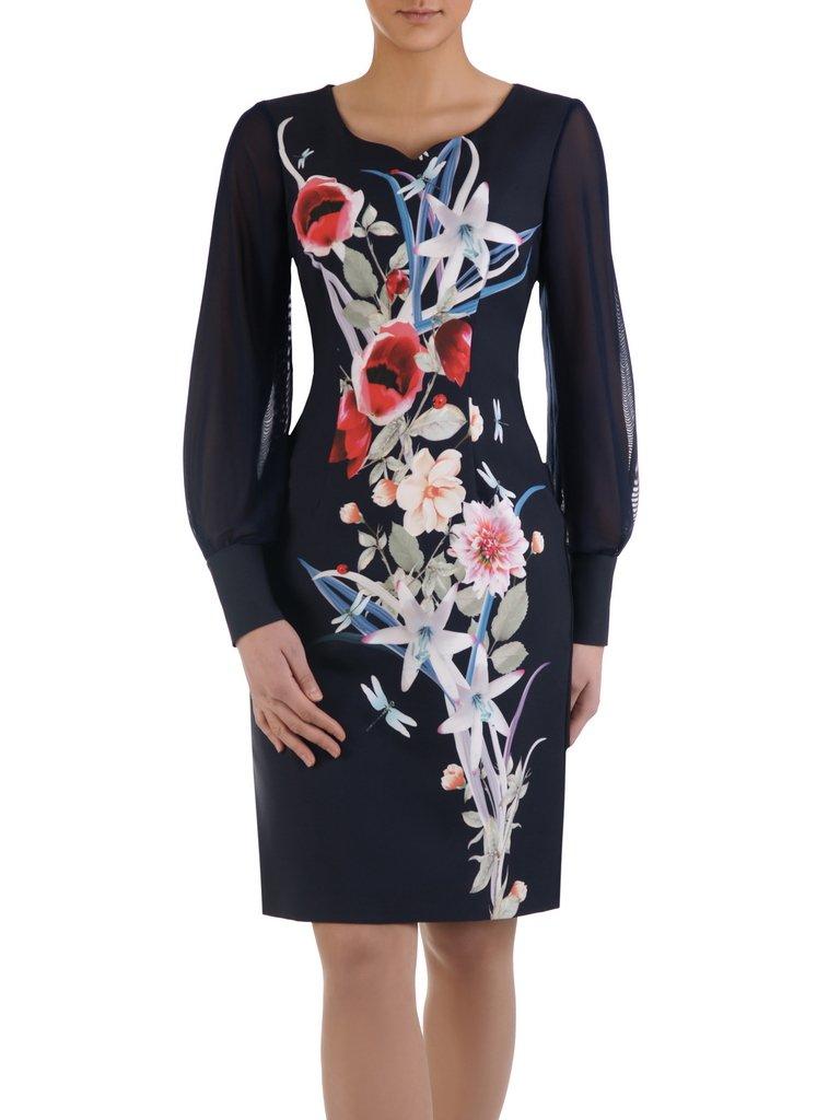 09560cb4a6 Elegancka sukienka z kwiatowym nadrukiem 15010