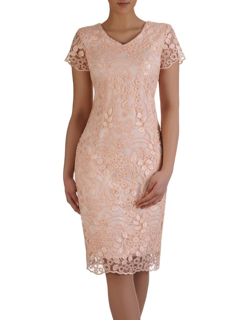 7fbdc7520d Elegancka sukienka z połyskującej koronki 15301