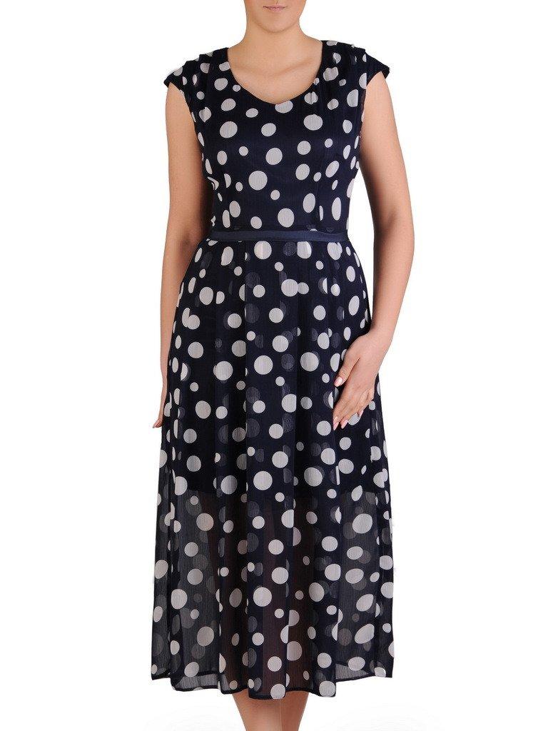 989a874e8d Granatowa sukienka w grochy