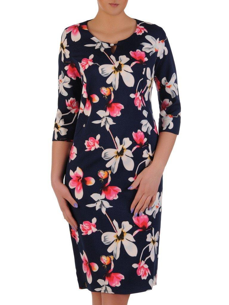 ffd2ea5863 Granatowa sukienka w kwiaty 20251.