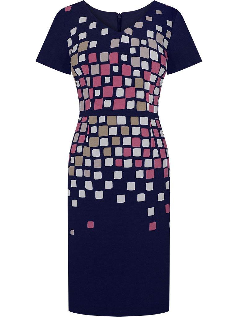 72de580c79 Granatowa sukienka z krótkim rękawem Zilia II