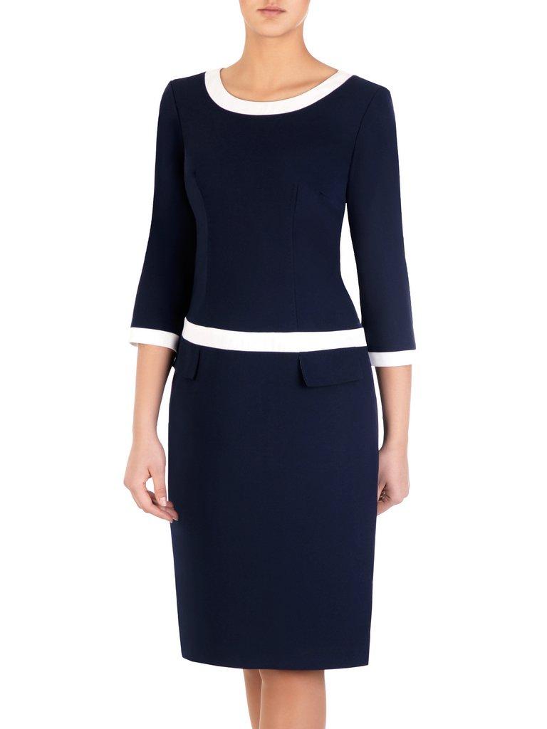 a562226c85 Granatowa sukienka z lamówkami Ksawera II