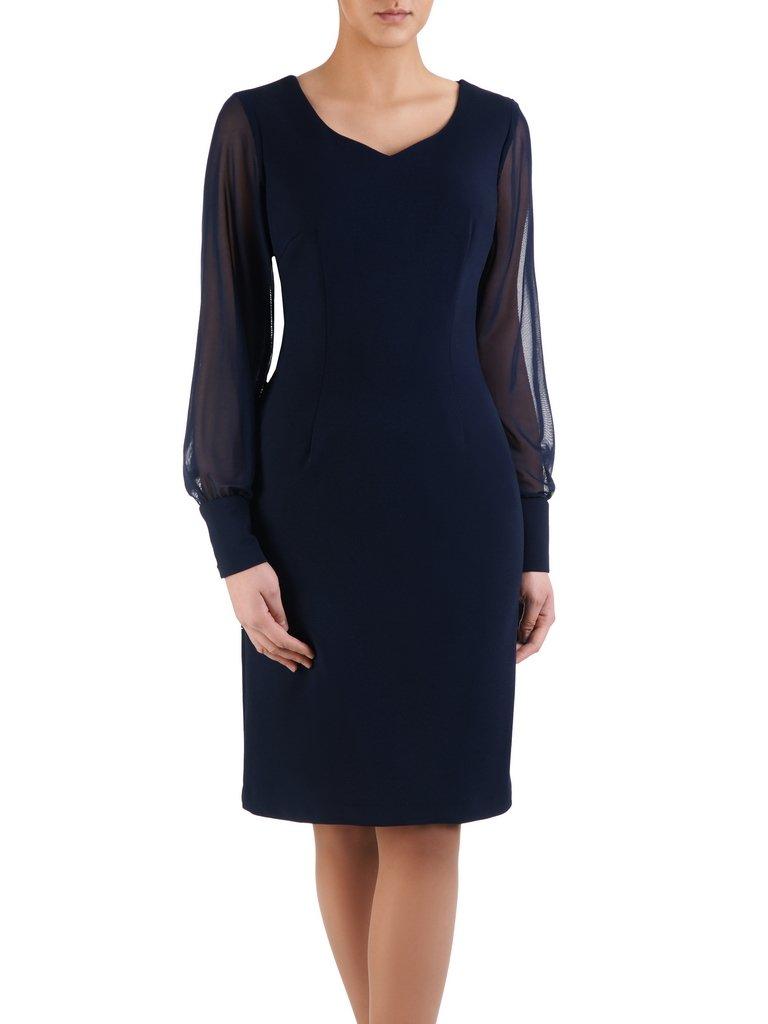 f981deb24c Granatowa sukienka z tiulowymi rękawami 14726