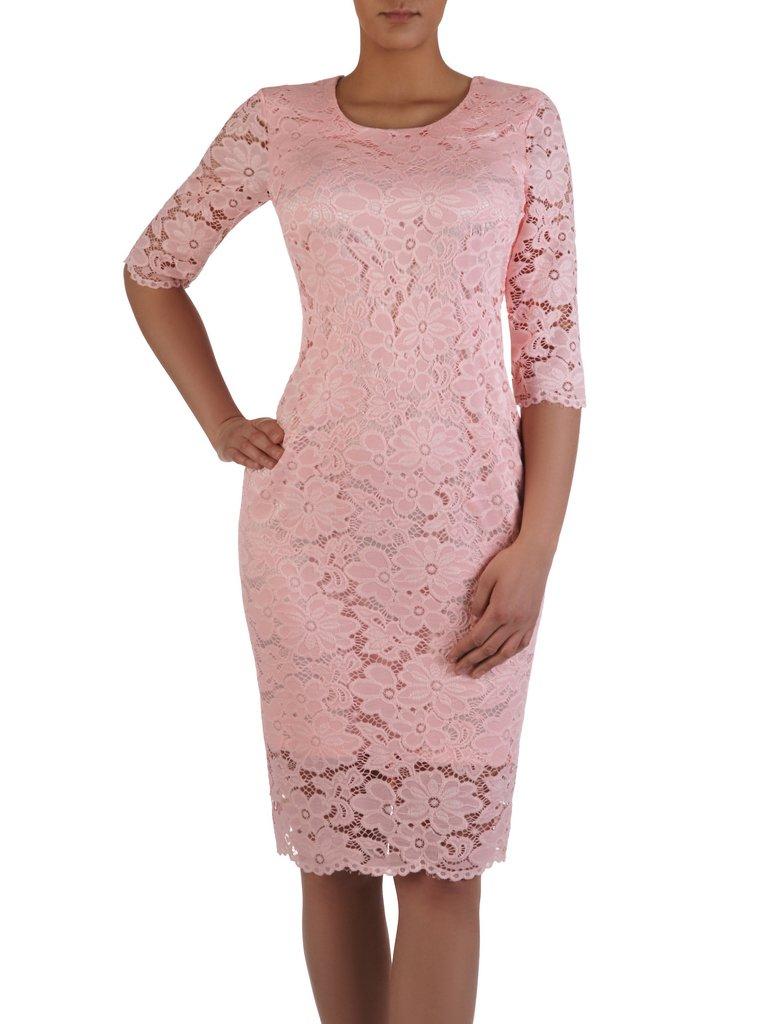 06dd9f5d6d7979 Klasyczna sukienka z połyskującej koronki 15875, pastelowa kreacja w ...