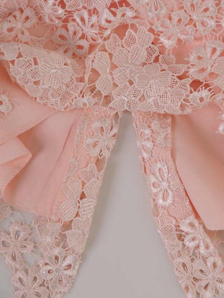 fe975d58fb8aee ... Koronkowa sukienka z szyfonowym szalem 14880, pastelowa kreacja na  wesele. Kliknij, aby powiększyć